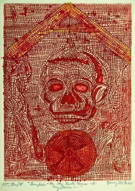 Jerry  Di Falco: 'Red Pompeii Poets House of Mysteries', 2016 Intaglio, Death. The zinc plate used for this etching measures 7 seven- inches high by 5 five- inches wide, or 17. 780cm by 12. 700cm, which is also the imageaEURtms size. The paper print measures 12 twelve- inches high by 10 ten- inches wide, or 30. 480cm x 25. 400cm. Please ...