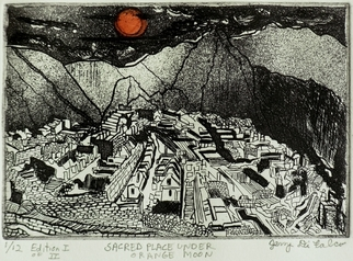 Jerry Di Falco Artwork SACRED PLACE UNDER ORANGE MOON, 2010 Etching, Landscape