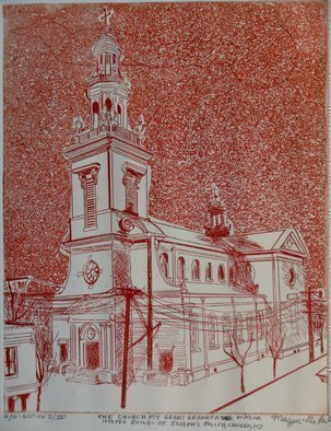 Jerry  Di Falco: 'SAINT JOSEPHS POLISH CHURCH IN CAMDEN NEW JERSEY', 2012 Etching, Architecture. This etching was hand printed and published by the artist at The Center for Works on Paper in Philadelphia, Pennsylvania. Please note that this etching is shipped to the collector without a frame or mat. This keeps the price low and allows the collector personal choice in mat selection and ...