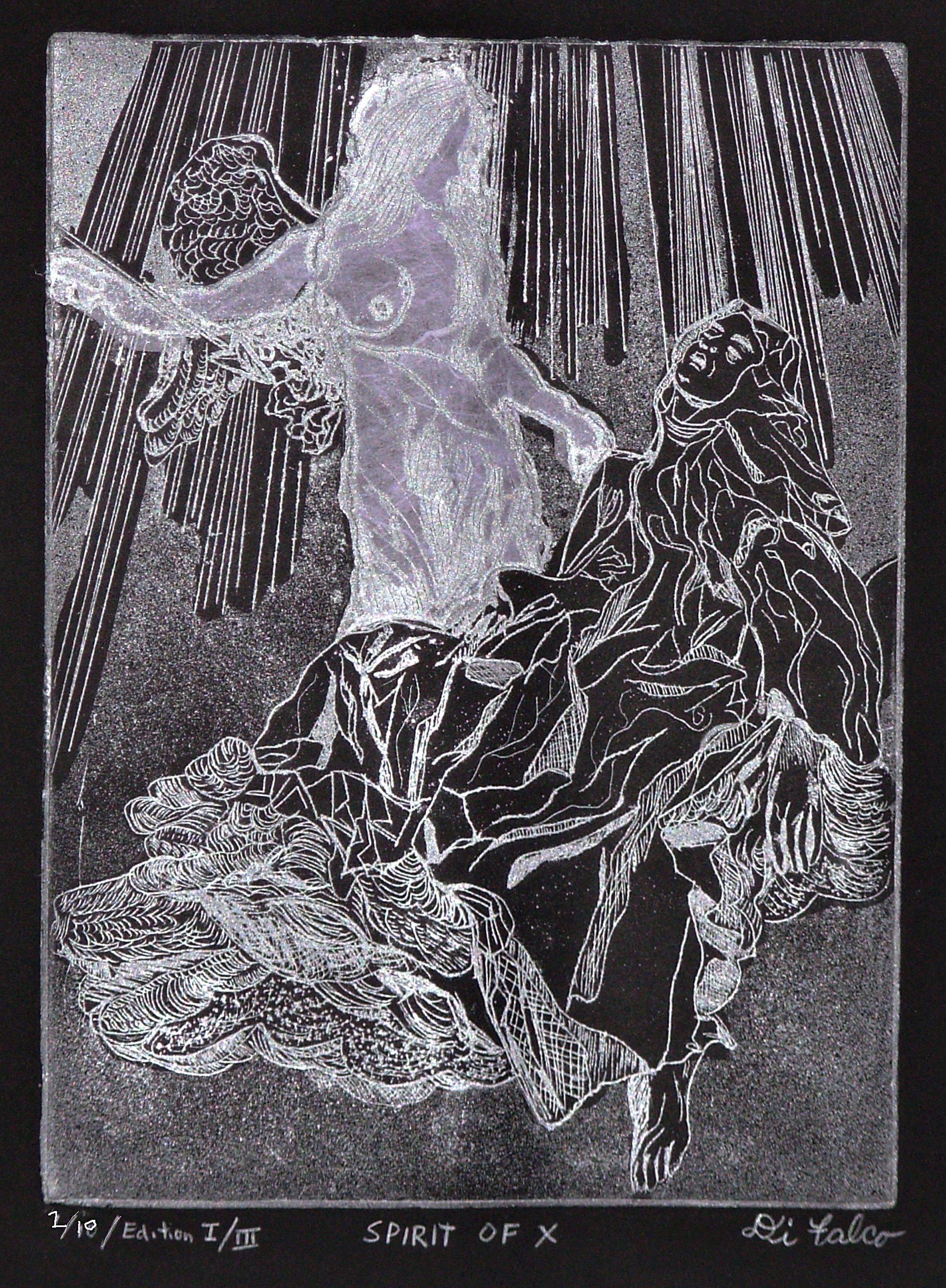 Jerry  Di Falco: 'SPIRIT OF X', 2012 Etching, Mystical.  Note The edition number, one of ten, sold  on Nov 30, 2014. The edition number pictured here is TWO of TEN. Techniques include intaglio, aquatint,  chine colle. The image depicts the Bernini sculpture, The Ecstasy of Saint Teresa, in Rome at the Cornaro Chapel, Santa Maria della Vittoria. The letter...
