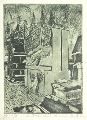 Jerry  Di Falco: 'Saint Oscars Stone in Paris at Dusk', 2016 Etching, Death. Artist Description: The zinc plate for this etching measured 7 seven inches high by 5 five inches wide, or 17. 780cm by 12. 700cm, which is the imageaEURtms size. First edition is titled THE BLUE EDITION. Second edition is titled THE EGYPTIAN EDITION. Third edition is titled THE LIPSTICK ...