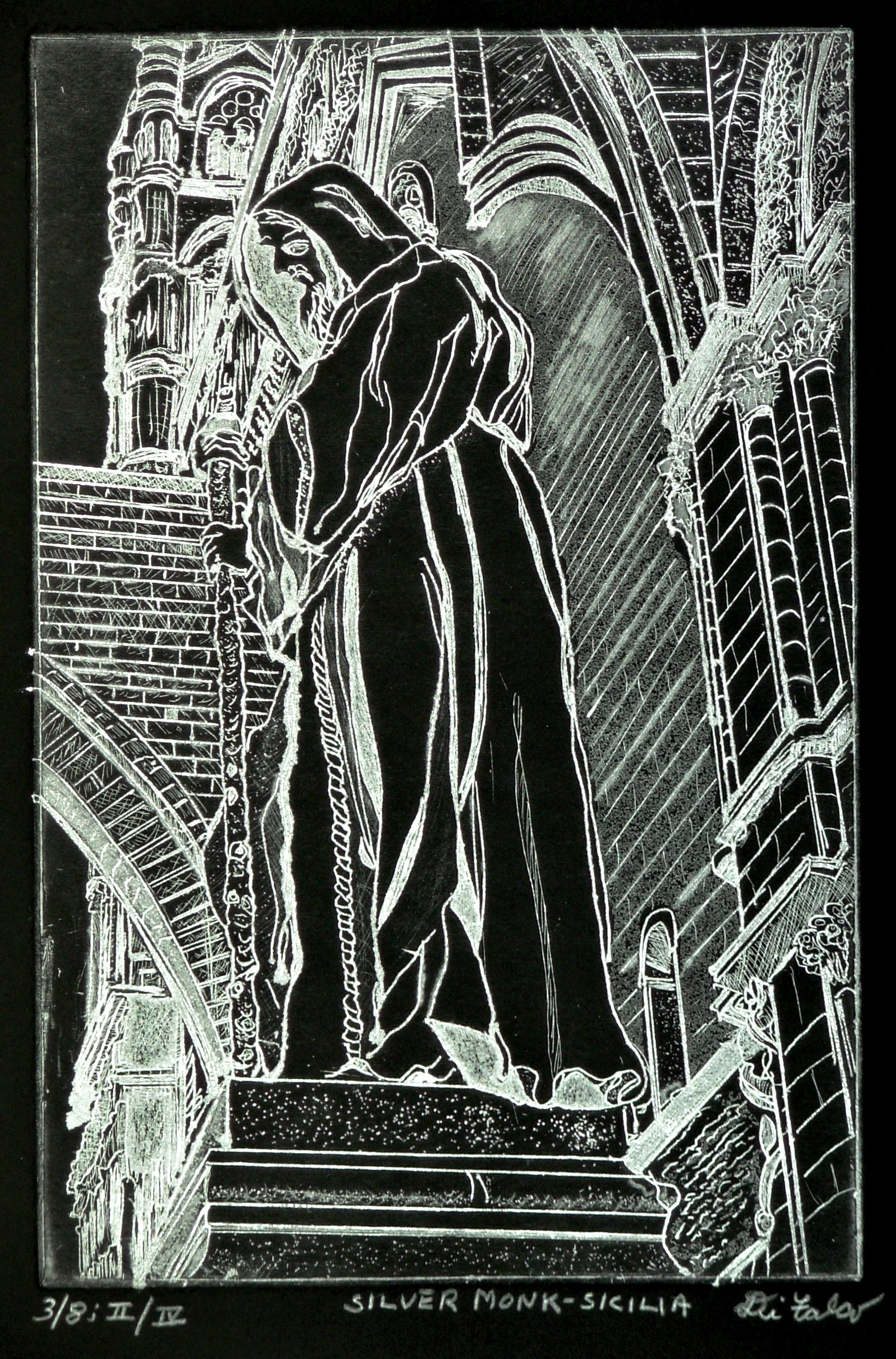 Jerry  Di Falco: 'Silver Monk in Sicily', 2015 Intaglio, Landmarks. Title THE SILVER MONK, SICILIAThe zinc plate used for this etching measured 6 inches wide by 9 inches high, or 15. 24cm by 22. 86cm. The print size is 13 inches wide by 15 inches high, or about 33. 020cm x 38. 100cm. My studio techniques included intaglio and ...