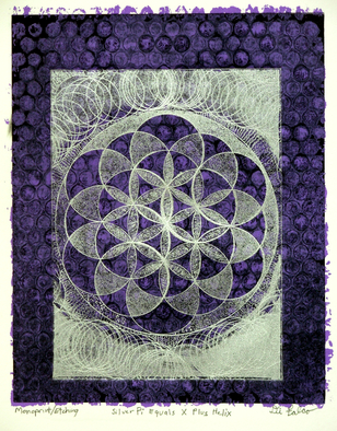 Jerry  Di Falco Artwork 'Silver  Pi  Equals  X  Plus  Helix', 2014. Other Printmaking. Geometric. Artist Description: IMAGE SIZE BELOW IS FRAME SIZE. ONE- OF- A- KIND PRINT ( Printmaking: combination of etching and monoprint) ; etching is printed over two dried ......