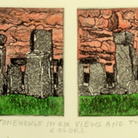 Stonehenge In Six Views And Two Colors By Jerry  Di Falco