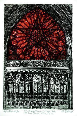 Jerry  Di Falco: 'THE ANGELIC HEIRACHY ROSE RED', 2016 Intaglio, Mystical. THE ANGELIC HEIRACHY ROSE RED IN ROUEN AT CHURCH OF SAINT OVEN. This work has FOUR editions, and this particular print is from the 3rd of 4 Editions. This original, hand- pulled intaglio etching by Jerry Gerard Di Falco, which also used the Chine colle process with Thai mulberry bark ...