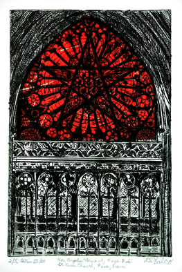 Jerry  Di Falco Artwork THE ANGELIC HEIRACHY ROSE RED IN ROUEN AT CHURCH OF SAINT OVEN, 2016 Intaglio, Mystical