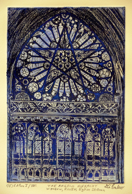 Jerry  Di Falco Artwork THE ANGELIC HEIRACHY WINDOW IN ROUEN AT THE EGLISE SAINT OVEN, 2016 Intaglio, Mystical