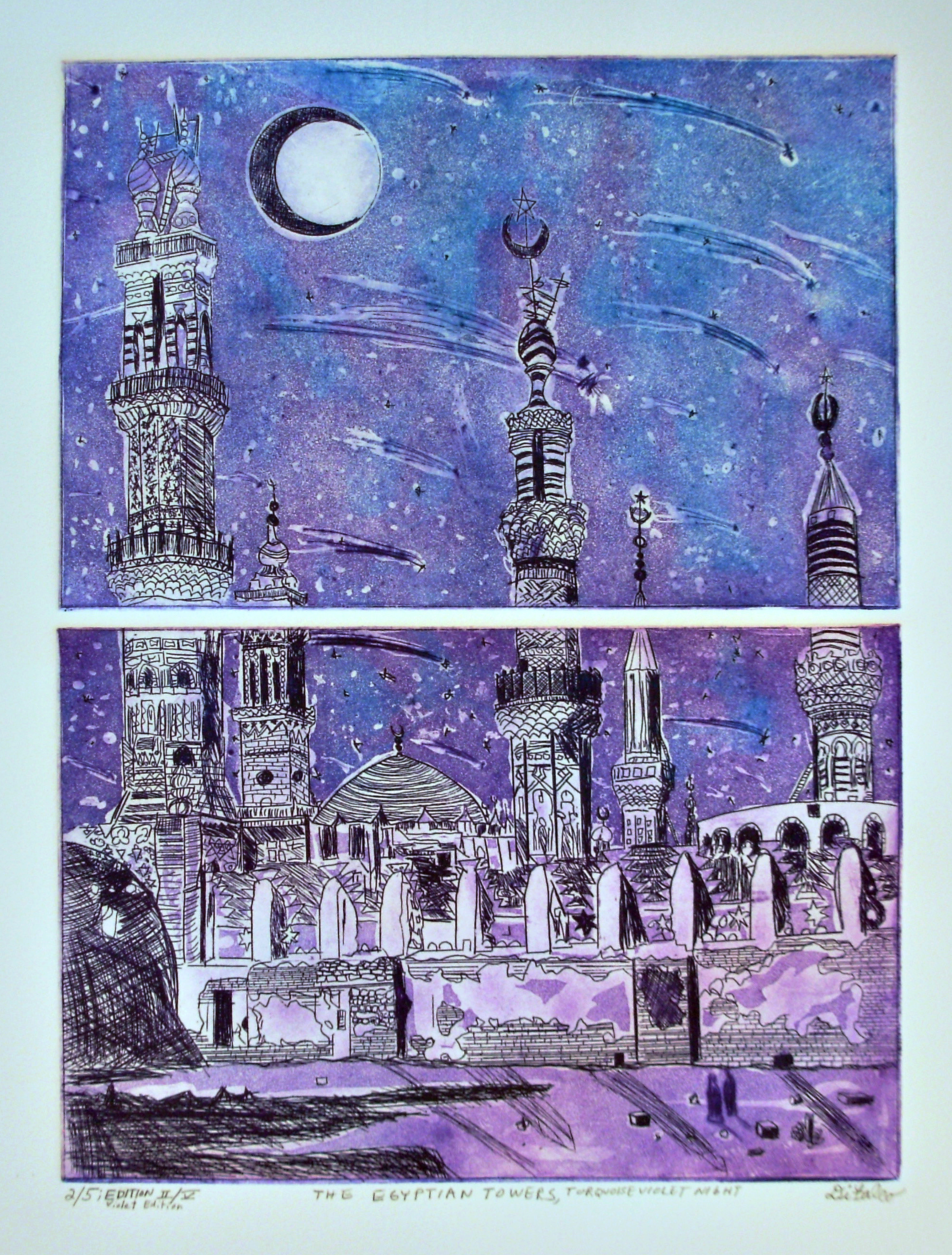 Jerry  Di Falco Artwork THE EGYPTIAN TOWERS AND THE TURQUOISE VIOLET NIGHT , 2013 Etching, Islamic