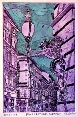 Jerry  Di Falco: 'THE LANTERN IN BUDAPEST ', 2015 Intaglio, Mythology. STUDIO TECHNIQUES USED INCLUDE INTAGLIO, AQUATINT, DRYPOINT, AND CHINE COLLE. The zinc plate is 6 inches wide by 9 inches high, or 15. 24cm by 22. 86cm. Seven nitric acid baths were required to reach my desired design. The overall size of the print measures 11 inches wide by 15 ...