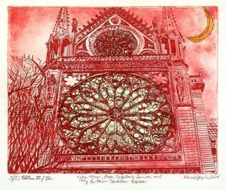 Jerry  Di Falco: 'THE MOON AND ROSE AND SORROW ', 2016 Intaglio, Architecture.  TITLE WITH PUNCTUATION is The Moon, Rose, OctoberaEURtms Sorrow My FutureaEURtms Hidden Faces. PRINT NUMBER THREE OVER FIVE EDITION THREE OF FOUR. Printmaking, Etching Intaglio, Chine collA(c), Drypoint. This etching was inspired by a photograph I took in 1987 on the side of Notre Dame Cathedral in Paris...