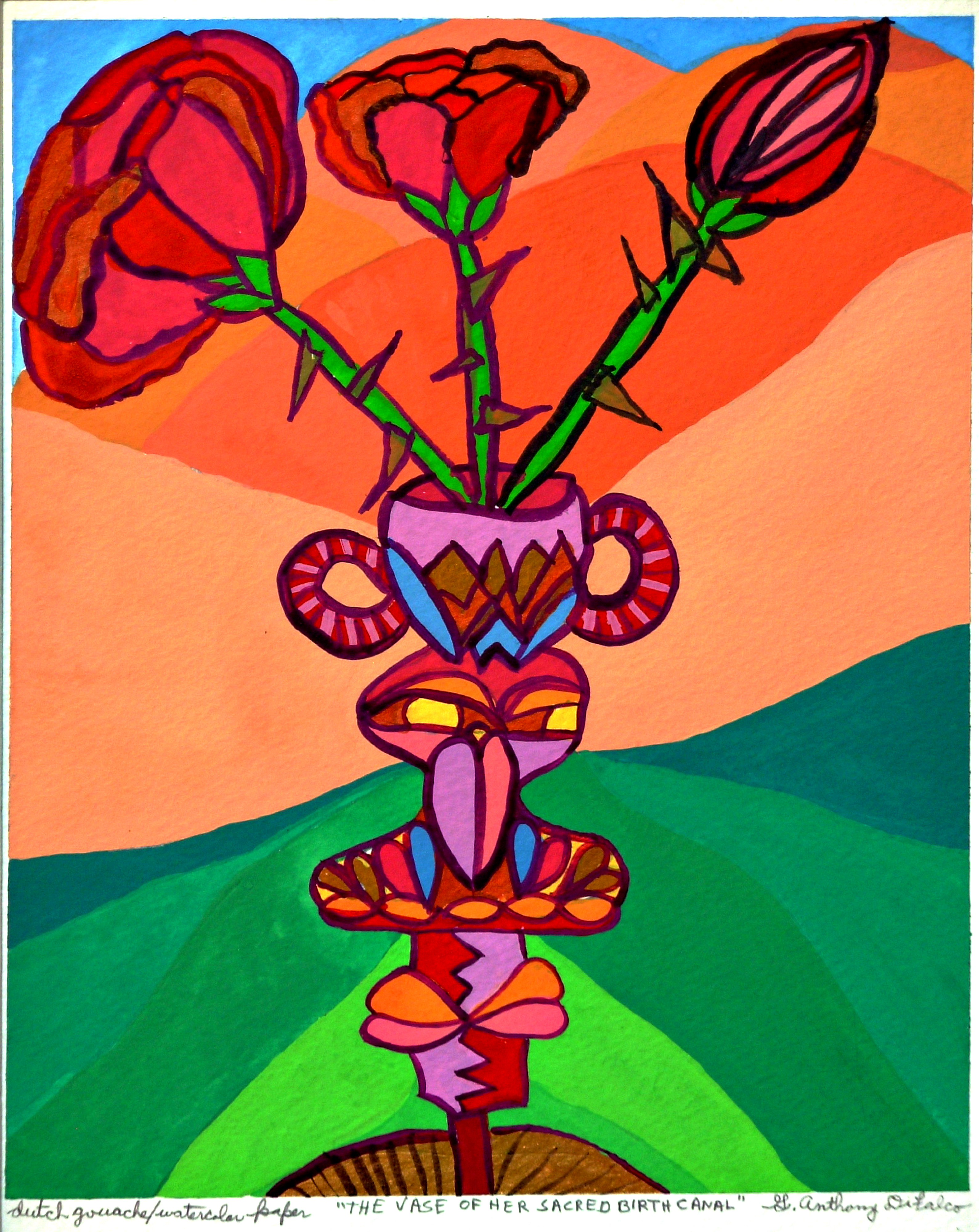 Jerry  Di Falco Artwork THE VASE OF HER SACRED BIRTH CANAL, 2015 Watercolor, Optical