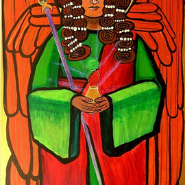 Jerry  Di Falco: 'The Archangel Raphael with Magic Staff', 2007 Acrylic Painting, New Age. Artist Description: from the personal collection of the artist.This is an icon of the Archangel Raphael; it is meant to be used as a liturgical work to hang above a main or side altar in a private chapel, church, cathedral, or spiritual retreal center. It can certainly also hang ...