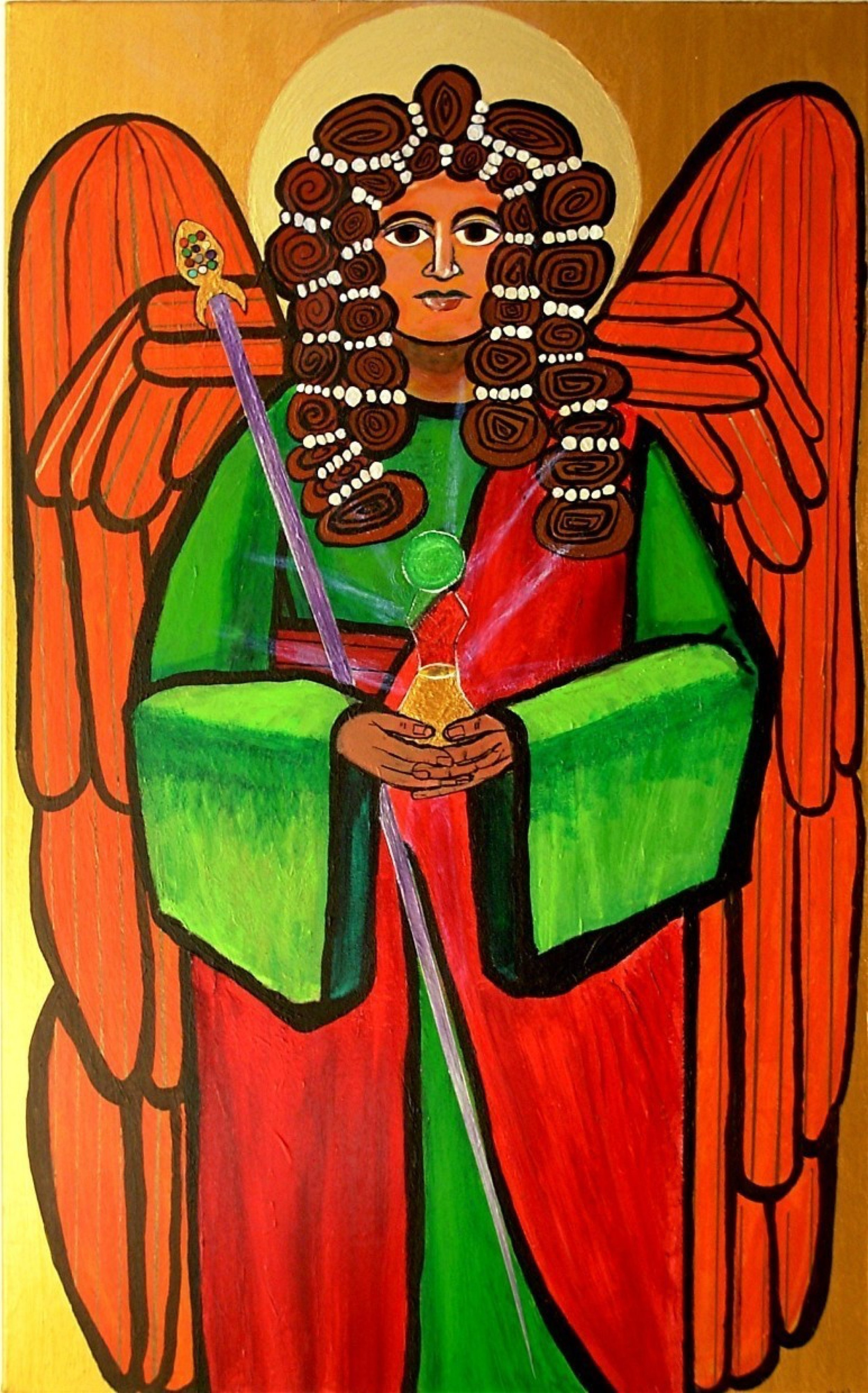 Jerry  Di Falco: 'The Archangel Raphael with Magic Staff', 2007 Acrylic Painting, Mystical. This painting has been in my personal collection for twelve years, and I decided to put it on the market in the year 2018. I painted this icon of the Archangel Raphael as a personal prayer to the universe, and I would now like it to hang in a public ...