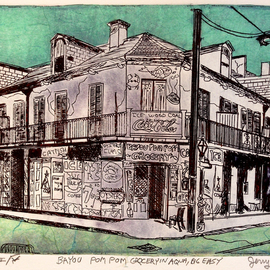 Jerry  Di Falco Artwork The Big Easy and Bayou Pom Pom Grocery in Aqua, 2015 Etching, Americana