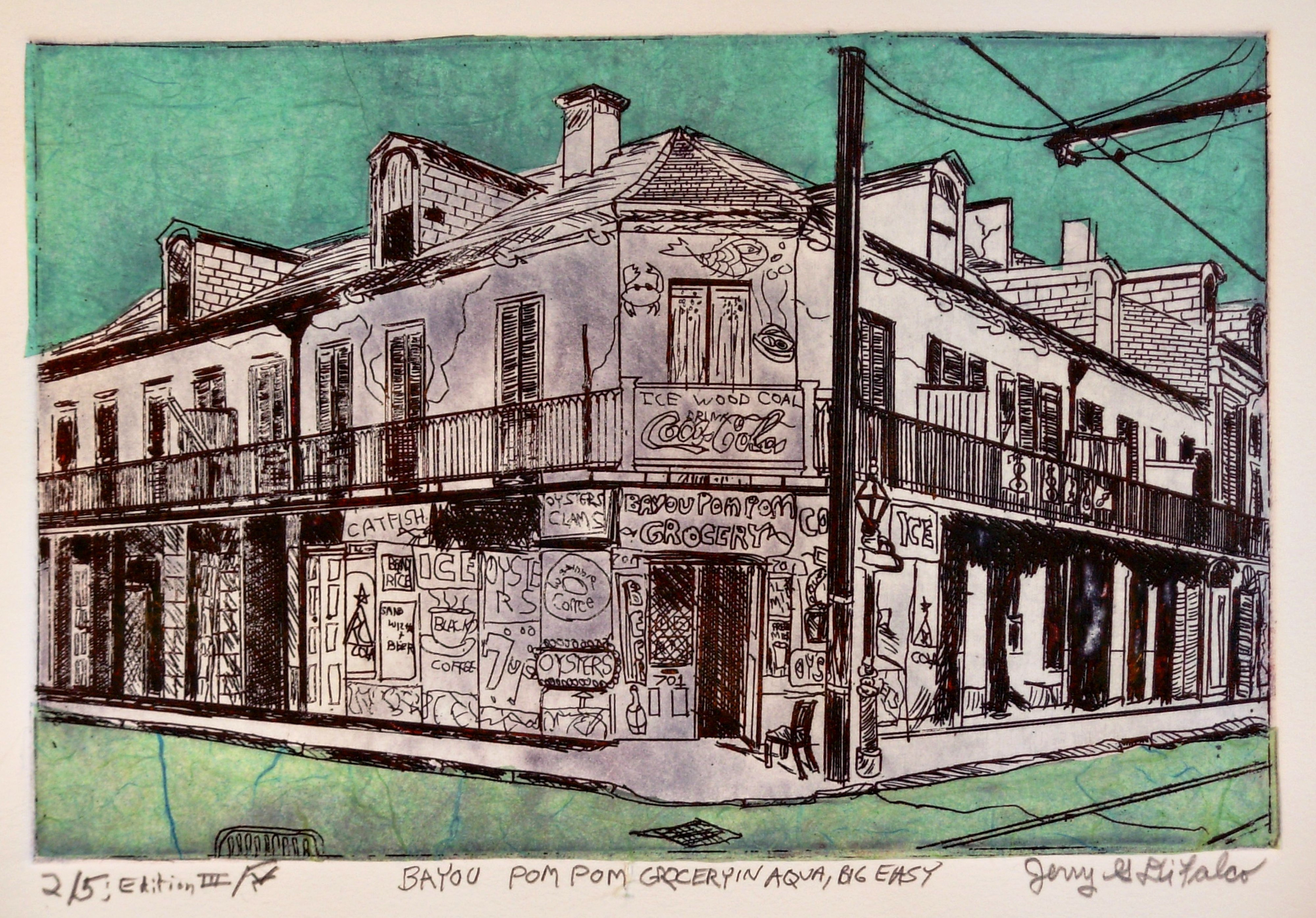 Jerry  Di Falco: 'The Big Easy and Bayou Pom Pom Grocery in Aqua', 2016 Etching, Americana. Please note that this etching is shipped and sold to the buyer without a frame or mat. This keeps the price reasonable and also allows the collector a wide range of choice in framing selection. For shipment, a sturdy cardboard box is employed. The etching is first wrapped in two ...