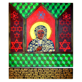 Jerry  Di Falco Artwork The Black Madonna of Quantum Physics with String Poem, 2010 Painting, Mystical