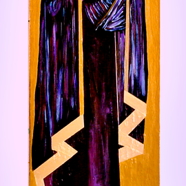 Jerry  Di Falco: 'The Mourning Madonna of the Seven Sorrows', 2007 Acrylic Painting, Mystical. Artist Description: This mixed media icon was executed on canvas stretched over heavy duty wood.  Media also includes acrylic, gold leaf pulverized mica dried pigments mixed with acrylic polymers on canvas.  It is now in the Permanent Liturgical Collection of the Rev.  Cannon Gordon Reid of Scotland. ...