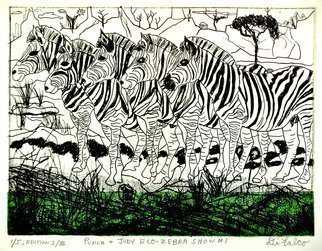 Jerry  Di Falco: 'The Punch and Judy Eco Zebra Show Number One', 2015 Etching, Animals. Artist Description:  Title: THE PUNCH AND JUDY ECO- ZEBRA SHOW NUMBER ONEPrint ONE of FIVE / Edition ONE of THREE ( 1/ 5; I/ III) ; Media: Extreme black, French etching ink ( oil- base) printed on Rives BFK white paper with one color of hand- dyed mulberry bark paper infused with kozo threads ...