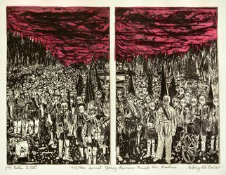 Jerry  Di Falco: 'The Soviet Young Pioneers ', 2016 Intaglio, Political. Artist Description: 1937 Anno Domini and The Soviet Young Pioneers Trump Their Freedoms IS THE FULL TITLE FOR THIS WORK BY DIFALCO. I based this etching on a black and white print from 1937, now in the Public Domain, by Russian photographer Victor Bulla. Its title is THE PIONEERS DEFENSE. ...