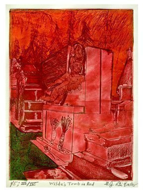 Jerry  Di Falco: 'The Wilde Tomb in Red', 2016 Intaglio, Death. Artist Description:  TitleTHE WILDE TOMB IN RED refers to the blocking off of Oscar Wildes Tombstone in Paris to prevent fans from kissing the sculpture by Jacob Epstein with lipstick consequently, this explains my naming of the Thirst edition of etchings THE LIPSTICK EDITION. When I shot the photo in ...