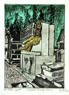 Jerry  Di Falco: 'Tomb of Oscar Wilde in Paris', 2016 Intaglio, Death. Artist Description: Dimensions The zinc plate for this etching measured 7 seven- inches high by 5 five- inches wide  or  17. 780cm by 12. 700cm, which is consequently the imageaEURtms size. The paper print measures 12 twelve- inches high by 10 ten- inches wide  or  30. 480cm x 25. ...