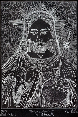 Jerry Di Falco Artwork Triune Christ in Black, 2010 Intaglio, Mystical