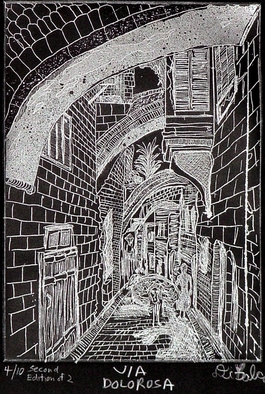 Jerry Gerard Di Falco Artwork VIA DOLOROSA in black, 2010 Etching, Cityscape