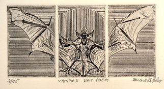 Jerry  Di Falco: 'Vampire Bat Poem', 2013 Intaglio, Optical. This triple plate etching is based on a biological drawing I executed at university as part of a biology science lab in 1971. The edition is limited to only forty- five prints. I used an oil- based black ink from France and RivesBFK White paper, also from France. The print ...