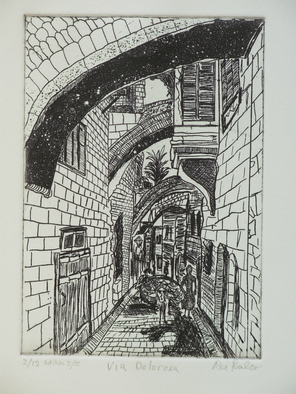 Jerry Gerard Di Falco Artwork Via Dolorosa, Jerusalem, 2010 Etching, Mystical