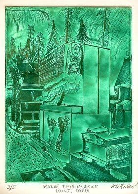Jerry  Di Falco: 'WILDE TOMB IN THE IRISH MIST OF PARIS', 2016 Intaglio, Death. Artist Description: Print 2/ 5; Edition V.   Dimensions: The zinc plate for this etching measured 7 seven- inches high by 5 five- inches wide or 17. 780cm by 12. 700cm, which is consequently the imageaEURtms size. The paper print measures 12 twelve- inches high by 10 ten- inches wideor30. ...