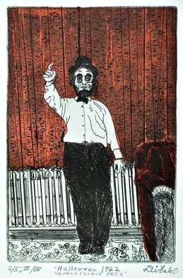 Jerry  Di Falco: 'abe on halloween 1962', 2018 Etching, Humor. THE PRICE OF THIS MATTED ETCHING INCLUDES A FRAME THAT MEASURES 16 INCHES HIGH BY 11 INCHES WIDE.  THE PAINTED BLACK, WOOD AND GLASS FRAME INCLUDES AN ACID FREE, WHITE MAT.  MOREOVER, THE ARTWORK ARRIVES WIRED AND READY TO HANG ON YOUR WALL.  This work is Print Number ONE of ...