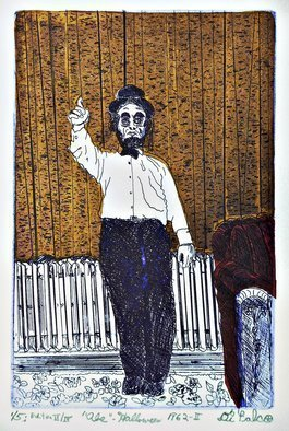 Jerry  Di Falco: 'abe on halloween 1962', 2018 Etching, Americana. THE PRICE OF THIS MATTED ETCHING INCLUDES A FRAME THAT MEASURES 16INCHES HIGH BY 11 INCHES WIDE.  THE GOLD PAINTED, WOOD AND GLASS FRAME INCLUDES AN ACID FREE, WHITE MAT.  MOREOVER, THE ARTWORK ARRIVES WIRED AND READY TO HANG.  This etching is based on a black and white snapshot from ...
