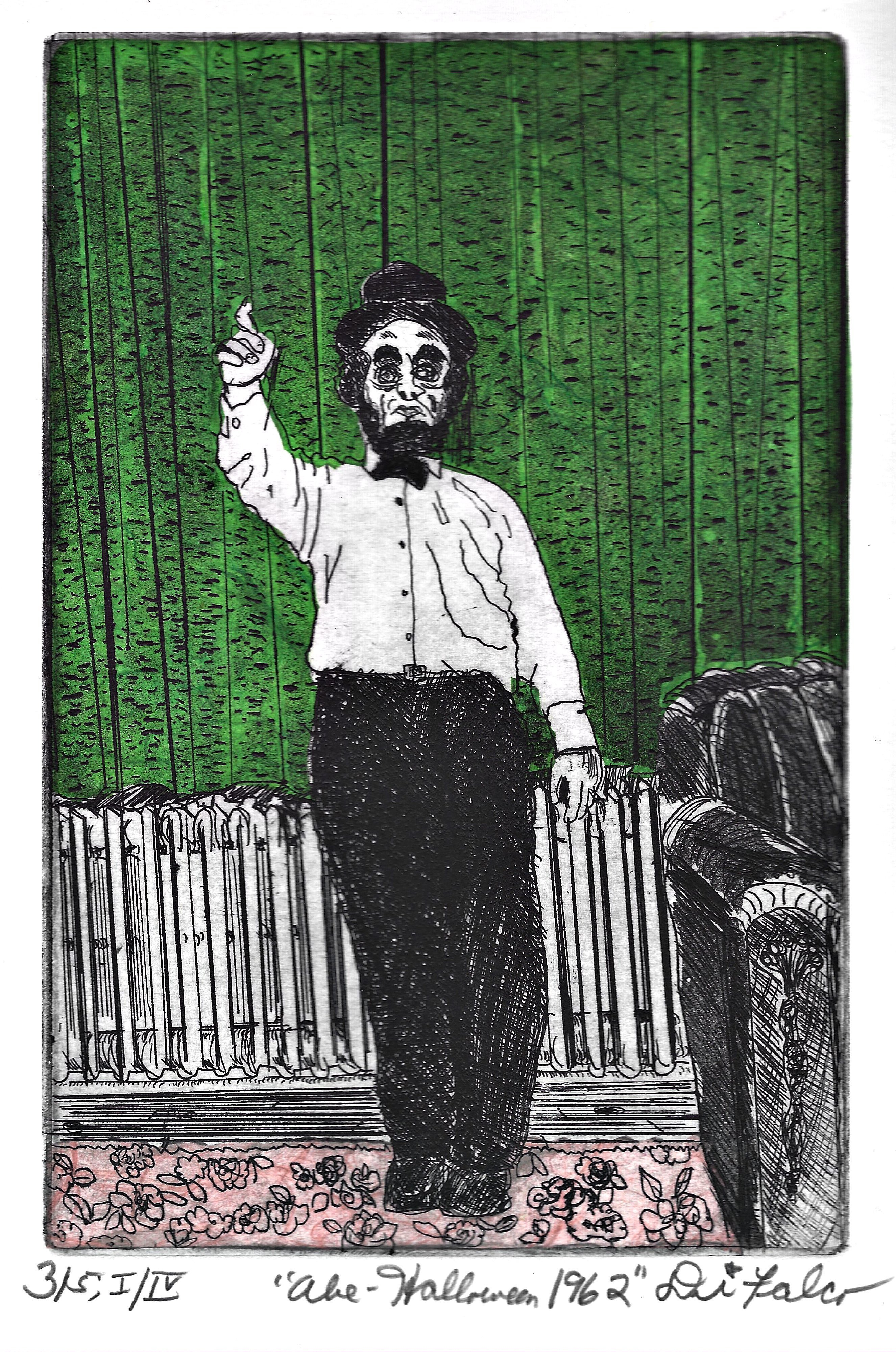 Jerry  Di Falco: 'abe on halloween 1962', 2018 Etching, Cartoon. THE PRICE OF THIS MATTED ETCHING INCLUDES A FRAME THAT MEASURES 16 INCHES HIGH BY 12 INCHES WIDE.  THE PAINTED BLACK WOOD AND GLASS FRAME INCLUDES AN ACID FREE, WHITE MAT WITH BLACK INNER BORDER.  MOREOVER, THE ARTWORK ARRIVES WIRED AND READY TO HANG ON YOUR WALL.  This etching is ...
