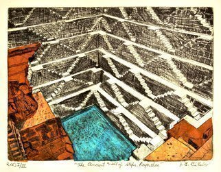 Jerry  Di Falco: 'ancient step well of rajasthan', 2018 Etching, Hindu. Artist Description: Printmaking Aquatint, Drypoint, Etching, Oil and Ink on Paper, Soft Yarn, Cotton, Fabric and Other. PLEASE NOTE THAT THE PRICE includes NO shipment costs. This original DiFalco etching employs the studio techniques of intaglio, drypoint, aquatint, and Chine collA(c). The artist executed his work in oil based etching ...