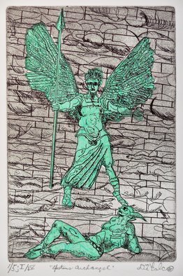 Jerry  Di Falco: 'angel of epstein', 2018 Intaglio, Visionary. Artist Description: This imagery in this etching originated with a 2012 photograph by the artistaEURtms friend taken at in England at The Covington Cathedral. It shows a sculpture on the buildingaEURtms faASS ade by Jacob Epstein, the same sculptor who carved Oscar WildeaEURtms gravestone in Paris, as ...