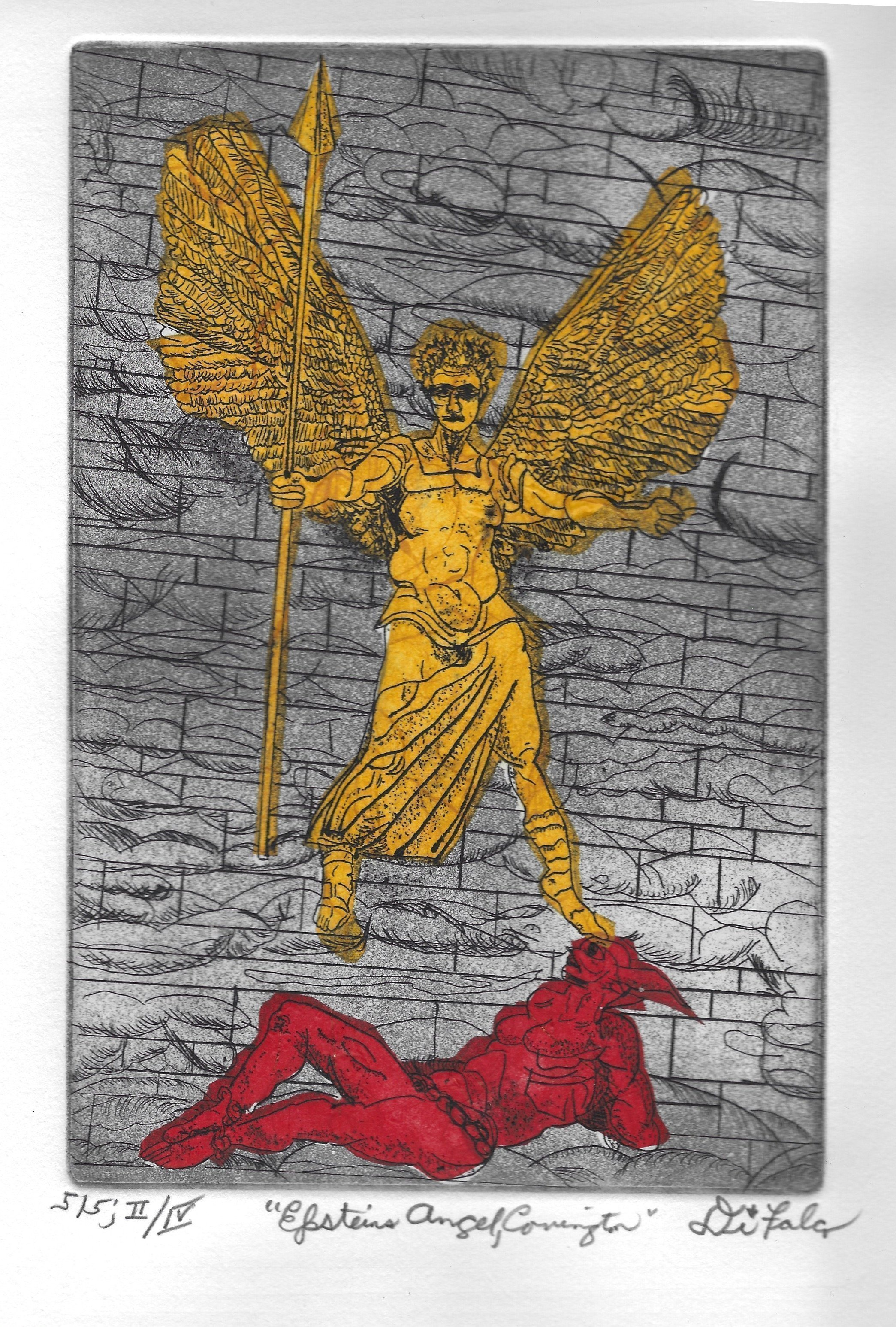 Jerry  Di Falco: 'angel of epstein two', 2018 Etching, Biblical. Artist Description: NOTE that the detail image is actually Print Number 1 of 5 in Edition Two of Four. This etching was inspired by a 2012 photograph by the artistaEURtms friend taken at in England at Covington Cathedral. It shows a sculpture on the buildingaEURtms faASS ade by ...