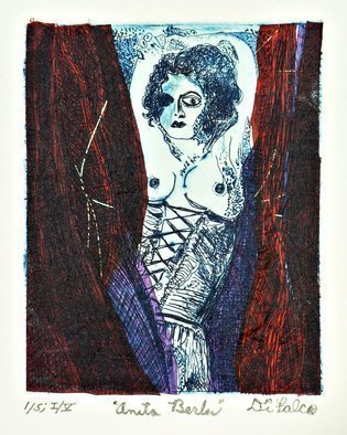 Jerry  Di Falco: 'anita berber', 2018 Etching, Dance. THE PRICE OF THIS ETCHING INCLUDES A BLACK PAINTED WOOD FRAME WITH GLASS AND ACID FREE MAT.  THE FRAME MEASURES FOURTEEN INCHES HIGH BY ELEVEN INCHES WIDE.  THE WHITE MAT CONTAINS A BLACK INNER TRIMMED EDGE.  THE ARTWORK ARRIVES WIRED AND READY TO HANG ON YOUR WALL.  A WALL HOOK ...