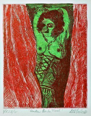 Jerry  Di Falco: 'anita berber noel', 2018 Etching, History. Artist Description: Four studio techniques of aquatint, intaglio, drypoint, and Chine CollA(c) were employed to create this original, hand printed etching by Jerry Di Falco. Its title refers to the German Cabaret dancer and performance artist, Anita Berber, born in Dresden on June 10, 1899 - died in 1928. Di FalcoaEURtm...