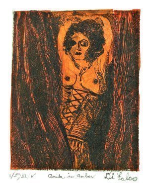 Jerry  Di Falco: 'anita in amber', 2018 Etching, Erotic. Artist Description: The four studio techniques of aquatint, intaglio, drypoint, and Chine CollA(c) were employed to create this original, hand printed etching by Jerry Di Falco. Its title refers to the German Cabaret dancer and performance artist, Anita Berber, born in Dresden on June 10, 1899 - died in 1928. Di ...