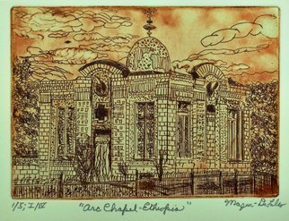 Jerry  Di Falco: 'arc chapel in ethiopia', 2019 Etching, Architecture. Artist Description: This etching is based on drawings I completed based on a friend s photo taken in Ethiopia.  It features the tint building in which The Ethiopian Orthodox Church claims to house The Arc of the Covenant, taken out of Jerusalem by the Romans in 70 A. D.   The ...