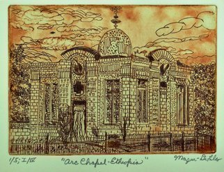 Jerry  Di Falco: 'arc chapel in ethiopia', 2019 Etching, Architecture. This etching is based on drawings I completed based on a friend s photo taken in Ethiopia.  It features the tint building in which The Ethiopian Orthodox Church claims to house The Arc of the Covenant, taken out of Jerusalem by the Romans in 70 A.  D.  The frame size ...