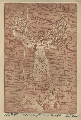 Jerry  Di Falco: 'archangel michael at covington', 2018 Etching, Representational. THE PRICE OF THIS ETCHING INCLUDES A GOLD PAINTED WOOD FRAME WITH GLASS AND ACID FREE MAT.  THE FRAME MEASURES SIXTEEN INCHES HIGH BY TWELVE INCHES WIDE.  THE WHITE MAT CONTAINS A GOLD INNER TRIMMED EDGE.  THE ARTWORK ARRIVES WIRED AND READY TO HANG ON YOUR WALL.  A WALL HOOK ...