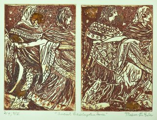 Jerry  Di Falco: 'basilagattan dancers', 2019 Etching, Dance. This impenetrable etching was inspired by an ancient Etruscan fresco depicting a funeral dance.  It was executed on two zinc plates, and each one required six Nitric Acid baths.  All of these hand pulled editions were printed and published by the artist at The Center for Works on Paper in ...
