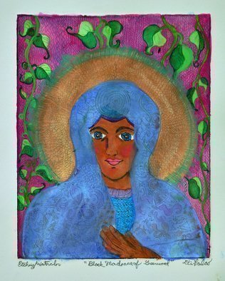Jerry  Di Falco: 'black madonna of greenwood', 2020 Mixed Media, Surrealism. This is a combined genre work using PRINTMAKING and PANTING.  The etching was originally of the Polish icon, OUR LADY OF CZESTOCHOWA, which is pronounced Chest- ah- HOE- Va.  Media include etching ink from France, Rives BFK white paper, watercolors, gouache, and Japanese iridescent cake watercolors.  The original etching was ...