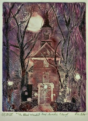 Jerry  Di Falco: 'blood moon at swedes church', 2020 Etching, Urban. This Third Edition etching was based on original drawings by the artist.  Di Falco used a family photograph taken by his Great- Great Maternal Aunt Victoria as a visual starting point.  Victoria lived on AlfredaEURtms Alley in Philadelphia since 1885 and shot the black and white cityscape between 1938 ...