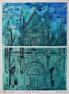 Jerry  Di Falco: 'blue orvieto', 2017 Etching, Christian. Artist Description: The studio techniques used to produce this etching were aquatint and intaglio. Three limited editions of four prints were published. This work is executed on two zinc plates, each measuring six inches high by nine inches wide, or 15. 240cm by 22. 860cm. This makes the printed image ...