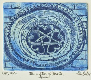 Jerry  Di Falco: 'blue star of hearts spain', 2017 Etching, Architecture. Title is BLUE STAR OF HEARTS, ESPAA'A.  This etching is based upon a 1987 photograph taken by the artist.  It depicts a 13th century window from a Romanesque Templar church, San BartolomeaEURtms Hermitage.  It is located in the Parque Natural del CaA+-on del rAo Lobos, Soria, ...