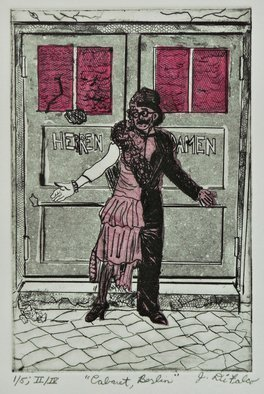 Jerry  Di Falco: 'cabaret berlin', 2017 Etching, Comedians. This etching was hand printed by the artist at The Center for Works on Paper in Philadelphia, which is part of Fleisher Art MemorialaEURtms OPEN STUDIO IN PRINTMAKING.  The work was executed on a zinc plate and incorporates the studio techniques of Chine colle, Intaglio, and Aquatint.  Five separate ...