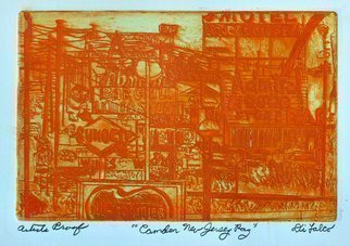 Jerry  Di Falco: 'camden new jersey rag blues', 2020 Etching, Transportation. This artist s proofaEUR