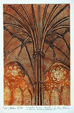 Jerry  Di Falco: 'cathedral house sepia orange', 2017 Etching, Atmosphere. Artist Description: Title is Chapter House in Brown at Salisbury Cathedral. This intaglio etching is the first of four editions each edition is limited to ONLY FIVE etchings per edition. This original hand- pulled print by the artist was executed in French, colored oil- based etching inks on Rives BFK ...